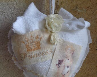 """Heart hanging in linen white shabby chic """"pretty Princess"""""""
