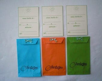 "Three invitations ""was"" in kraft color bags"