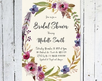 Bridal Shower Invitation, Fall Bridal Shower Invitation, Floral, Watercolor, Maroon, Purple, Wreath, Boho, Feather, Printed, Printable