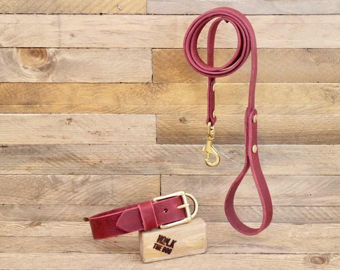 Dog collar, Dog leash, Set, Burgundy colour, Brass hardware, FREE ID TAG, Collar and leash, Handmade leather collar, Leather leash, Collar.