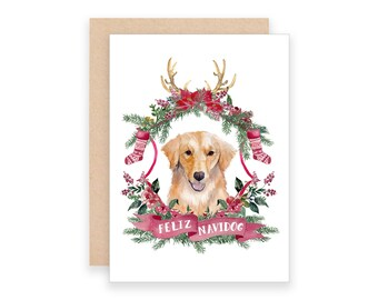 Feliz Navidog Christmas Card | Watercolor Golden Retriever Christmas Card | Dog Christmas Card | Feliz Navidad Christmas Card | Holiday Puns