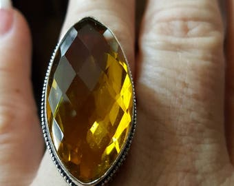 Honey Quartz Marquee Ring - size 9.5!