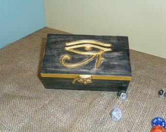 "Solid Oak Dice Box ""Eye of Horus"""