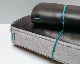 Genuine Leather Traveler's Notebook - Blue Black Ash