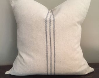 Blue Stripe Grain Sack Pillow, Throw Pillow Cover, Farmhouse Pillows, Decorative Pillows, Pillow Cover 18x18 or 20x20