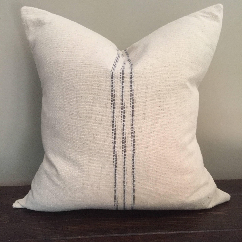 Blue Stripe Grain Sack Pillow Throw Pillow Cover Farmhouse