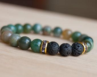 Fancy Jasper and Lava Bead Bracelet, Aromatherapy jewelry, diffuser jewelry, diffuser beads, essential oils, gemstone bracelet