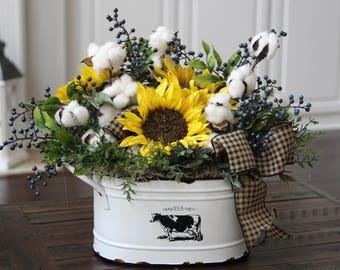 Farmhouse Decor, Country/ Primitive Floral Arrangement, Cotton Decor, Rustic Arrangement, Sunflowers and Cotton in Farm Fresh Bucket