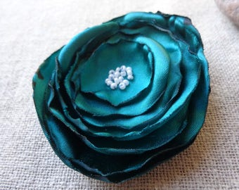 Hair comb wedding hair comb hair comb green flower comb green ceremony green fabric
