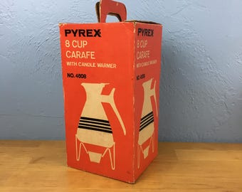 Pyrex Gold Stripe 8 Cup Carafe Candle Warming Stand Original Box