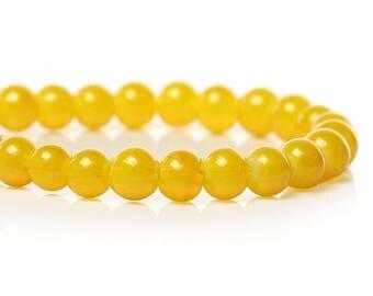 1 Strand 4mm Dark Yellow Round Glass Beads (B238b)