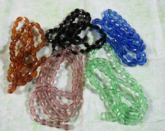 6x4mm Faceted  Glass Oval Bead Strand (B215b)