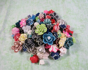 100 Asst. Polymer Clay Flower Beads (B310i)