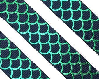 "7/8"" Blue & Green Mermaid Scale Foil Printed Grosgrain Ribbon, Hair Bow Ribbon, Cheerleading Ribbon, DIY Bow, Crafting Ribbon, Scrapbooking"