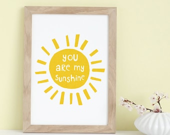You Are My Sunshine wall art, Gift for Her, Nursery Print, Mothers Day, Sunshine Art, Yellow Nursery Decor, Kids Wall Art, Illustration