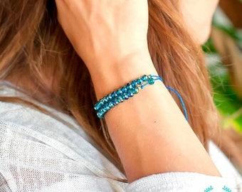 Petite Beaded Rope Bracelet, Beaded String Bracelet, String Adjustable Bracelet, Stacking String bracelet