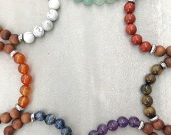 Chakra Bracelets, Chakra Stack, Sandalwood Bracelets, Chakra Healing, Wrist Mala, Meditation Mala, Mala Beads, Stacking Bracelets, Boho Mala