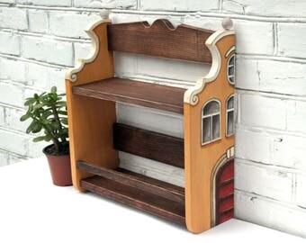 Wood Wall Shelf Rustic Wooden Shelves Wall Kitchen Shelf Wood Farmhouse  Shelf Hand Painted Shelf Fairy