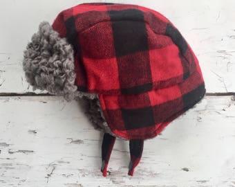 Red Bufflao Plaid Hat - Toddler Trapper Hat - Infant Bomber Hat - Adult Lumberjack Hat - Plaid Winter Hat - Ear Flap Hat - Winter Hat