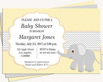 Elephant Baby shower Invitation. Yellow and Gray. Neutral Pastel Baby Shower. Printable invitation. Personalized tags