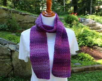 Crochet Skinny Scarf, Short Crochet Scarf, Shades of Purple Scarf, Teen Scarf, Women's Scarf, Winter Fashion Accessory,