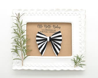 Black & White Striped Sailor bow clip-Elle Baby Headband - Newborn - Hairbow with tails - Toddler hairclip -Nylon Headband-Elle Belle Baby