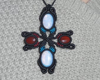 with four semi precious opal and agate macrame necklace