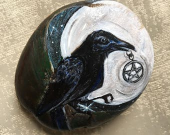 Black Raven, Animal Totem art, Protection amulet, Pebble Art, Home Decor, Paperweight, Unique Gift for Him, Gift for her, Chris