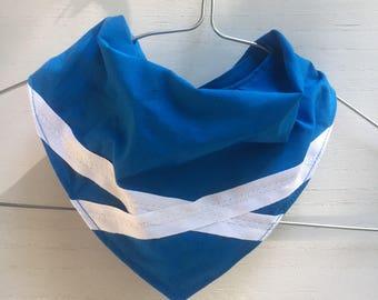 Handmade Baby Bandana Scottish flag Saltire Saint Andrews Cross, bibdana blue white, babyshower gift, Scottish Rugby Scottish Football