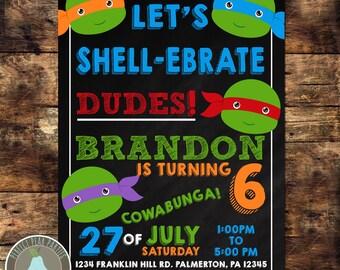 Teenage Mutant Ninja Turtles Birthday Invitation, TMNT Birthday, Turtles Invitation