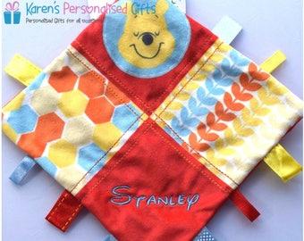 Personalised Winnie the Pooh Ribbon Comforter, Winnie the Pooh Baby Blankie, Baby Comforter