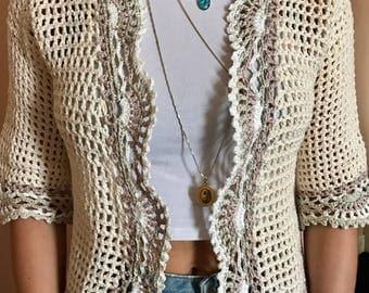 Crochet women's cotton jacket
