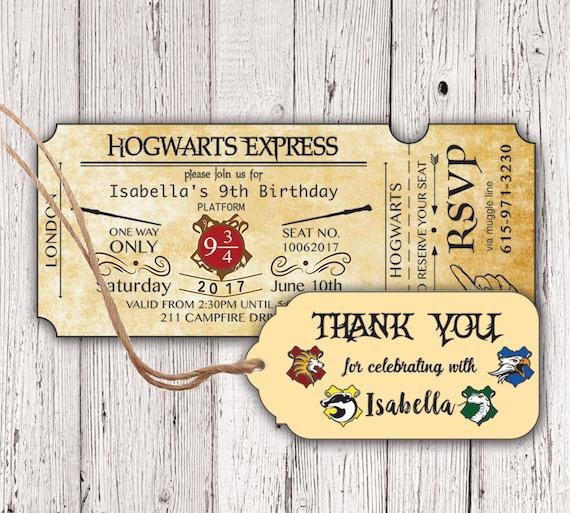 Harry Potter Hogwarts Express Ticket Birthday Invitation
