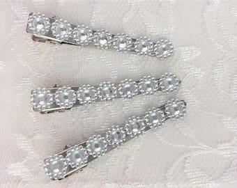 Bridal Sparkly Hair Clip, Rhinestone Hair Clip, Bridal Hair Clip, Bridesmaid Hair Clip, Prom Hair Clip, Rhinestone Prom Clip, Set of Three