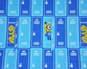 "Minions in Lockers fabric, By the Half Yard, 45"" wide, 100% cotton, cartoon fabric, character fabric, despicable me fabric, minions fabric"