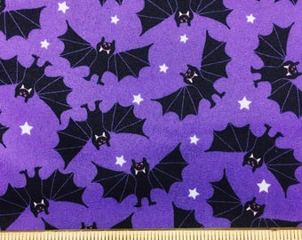 "Bats on purple novelty fabric, 43-44"" wide, 100% cotton"