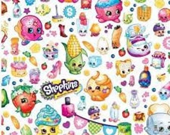 "Shopkins small print on white fabric, By the Half Yard, 44"" wide, 100% cotton"