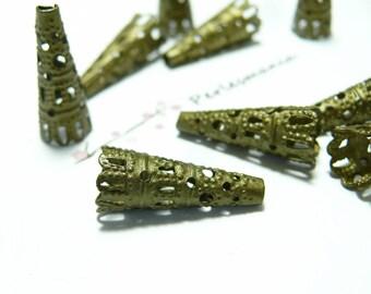 50 bronze ref filigree cones 6603
