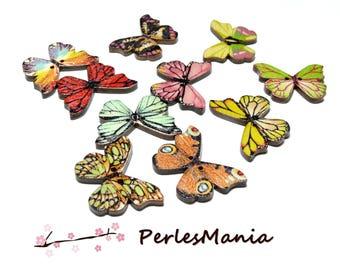 10 boutons en bois  multicolores Papillons ref H1145