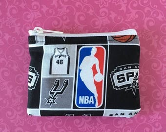 20% OFF SALE San Antonio Spurs Coin Bag // READY-To-Ship // Change Purse // Pouch