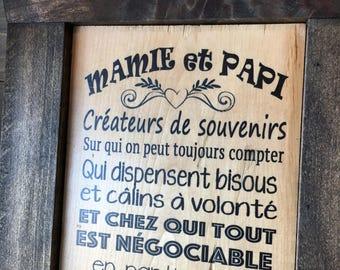 """Plaque """"Mamie et Papi"""""""