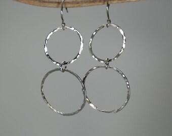 Geometric Hammered Silver earrings:  Fine silver earrings