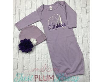 Baby girl coming home outfit,baby girl gown,monogrammed infant gown,newborn girl outfit,personalized gown,baby girl,purple gown,newborn girl