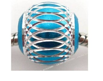 Set of 5 blue beads pattern aluminum silver 15 mm