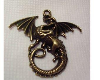 set of 5 large pendants Antique bronze dragons 46 mm Zinc Alloy