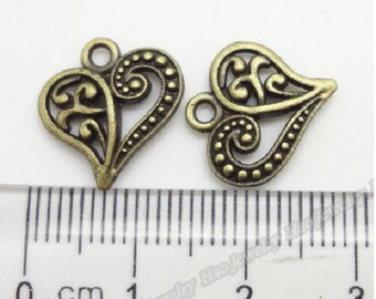 set of 20 bronze 14 mm x 15 mm heart charms pendants