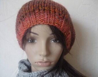 Katia wool hat beret gradient orange 50%