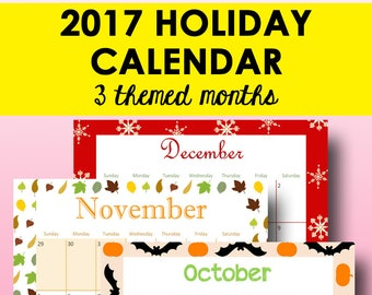 Printable Calendar 2017, Planner Printable Monthly Calendar, Monthly Planner 2017, Holiday Plan, December, Letter Size, Instant Download