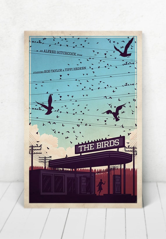 The Birds Movie Poster Illustration / The Birds Movie Poster / Movie Poster / The Birds / Alfred Hitchcock