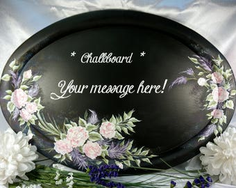 Chalk, Chalkboard Message Board, Hand Painted Message Board, Note Board, Message Board, Upcycled Wood Tray, Pink Rose Painting, Shabby Chic